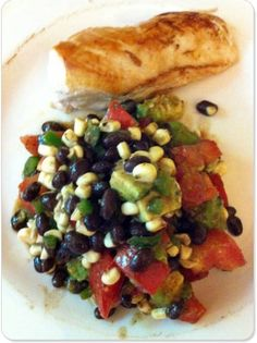 Black Bean Salad - Light Summer Meal - Used olive oil instead of veg oil, added some chopped red onion, definitely needs salt, only had one avocado and would have added cilantro if I had any.  Easy, fresh, tasty meal for those hot summer days.  Make it early in the day, add some garlic bread and dinner's ready when you are.