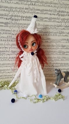 "Blythe dress set extra long sleeve circus, vintage.  ""Pierrot""."