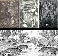 Artistic Influences on Berserk. Tove Jansson (top row) is one of a few Scandinavian illustrators that helped define this particular fairytale look. I've picked her because her spooky-cute aesthetic is such a close match to many of the Berserk settings, but other possible influences include John Bauer and Gustaf Tenggren.