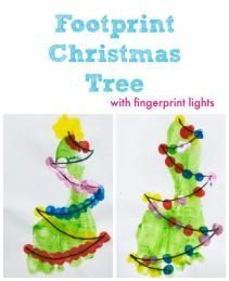 Footprint Christmas Tree Card Craft for Kids - Emma Owl