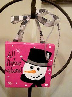 Custom Snowman Winter Christmas Canvas Sign by dreamcustomartwork, $15.00