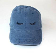 Eyelashes Baseball Cap Distressed Pigment Dyed Hat