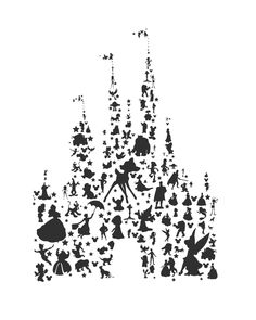 disney character silhouettes castle.. by studiomarshallarts
