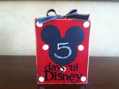 Disney Countdown Wood Block / Vacation Countdown / Disney countdown calendar / Mickey mouse chalkboard countdown- would be cute to do letters of name as well.