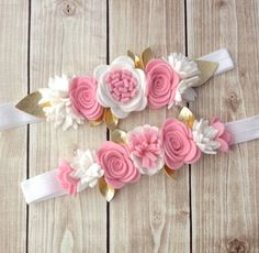 the different paper flowers you can make with the Cricut Fl Felt Headband, Baby Girl Headbands, Baby Bows, Felt Flowers, Fabric Flowers, Paper Flowers, Diy Hair Bows, Diy Bow, Felt Crafts