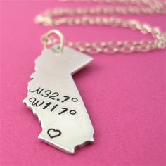 State Coordinates Necklace - Spiffing Jewelry. Latitude and longitude.