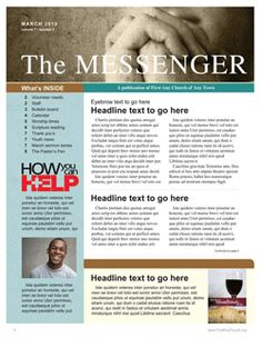Free Church Newsletter Template | Communication Resources - Online Store                                                                                                                                                                                 More