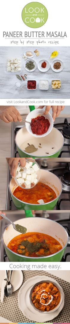 PANEER BUTTER MASALA RECIPE Paneer Butter Masala Recipe ( Tender chunks of paneer are cooked in a deliciously rich makhani gravy to give everyone's favourite. Wholesome Indian Veggie Look and Cook via Paneer Recipes, Curry Recipes, Vegetable Recipes, Indian Food Recipes, Asian Recipes, Vegetarian Recipes, Cooking Recipes, Healthy Recipes, Butter Masala Recipe