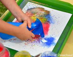 Spray paint art with powder paint and water. Children can draw their art piece and combine a lot of colours together and see what happen.