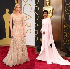 Evening Blush - Oscars 2014 - Cate Blanchett in Giorgio Armani and Camilla Alves in Gabriela Cadena