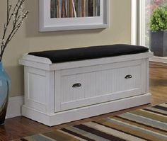 Distressed White Upholstered Bench Foyer Seating Entryway Den Bedroom Storage…