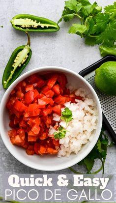 Quick Easy Pico De Gallo Tomato Salsa Recipe, Fresh Tomato Salsa, Side Dishes Easy, Side Dish Recipes, Summer Recipes, Fall Recipes, Dinner Recipes, Taco Dinner, Mexican Food Recipes