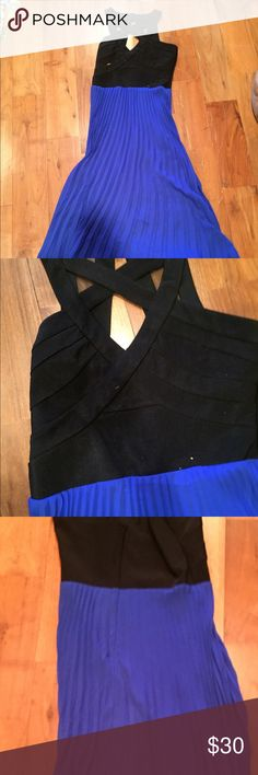 Beautiful maxi dress Perfect for the holidays maxi dress. Body forming top with flowing blue bottom Dresses Maxi