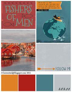 lori weitzel: golden orange, scarlet red, dusty turquoise, dove gray