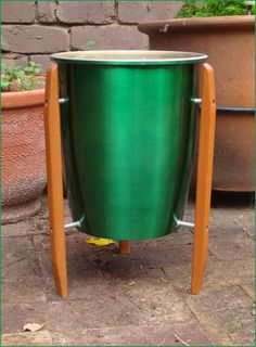 Retro 1960s VIVID Green Danish Rocket Anodised Planter Plant Stand POT Teak Legs | eBay