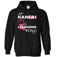Just A Kansas Girl In A Louisiana World T-Shirts, Hoodies. SHOPPING NOW ==► Funny Tee Shirts