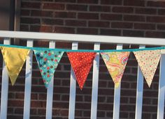 Fabric Banner - Fabric Bunting - Teal, Cream, Orange, and Yellow  by monkeyandlamb on Etsy