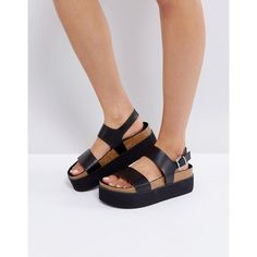 Bershka Strap Front Flatform Sandal (390 NOK) ❤ liked on Polyvore featuring shoes, sandals, black, block heel sandals, black shoes, ankle wrap sandals, strappy sandals and flatform sandals