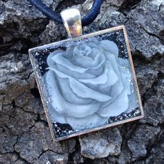 B&W Rose Square Pendant w/original artwork & hand-poured resin / floral necklace / rose necklace