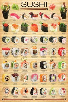 """I chose Eurographics amo """"sushi"""" cartaz, Poster to represent Triadic Colors. Since Sushi is one of my favorite artistic treats. Asian Recipes, Healthy Recipes, Easy Japanese Recipes, Japanese Desserts, Cheap Recipes, Food Platters, Seafood Recipes, Baked Tilapia Recipes, Recipes Dinner"""