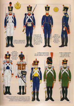 Artiglieri francesi e alleati, 1810 - 1815