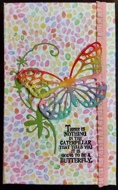 Notebook Cover - used Stampin' Up Butterfly Basics and Occasional Quotes Stamp Sets and DSP by Close to my Heart (Kaleidoscope)