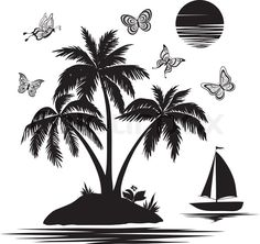 Stock vector ✓ 10 M images ✓ High quality images for web & print | Island with palm, ship, butterflies, silhouettes $12.50