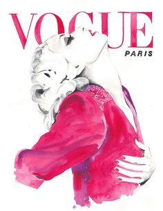 Vogue Cover-Art, 70er Jahre, Aquarell Vogue, Aquarell Mode-Illustration Illustration, Vintage Vogue Paris 1970