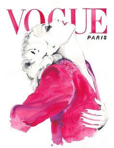 Vogue Cover-Art, 70er Jahre, Aquarell Vogue, Aquarell Mode-Illustration Illustration, Vintage Vogue Paris 1970