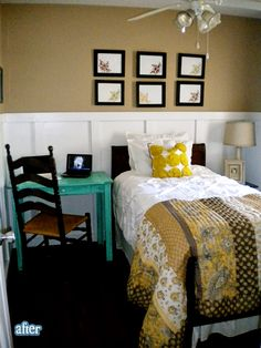Loving the black carpet and accents in the room. The pop of teal in the desk is also super cute and goes well with the yellow hues in the bedding.