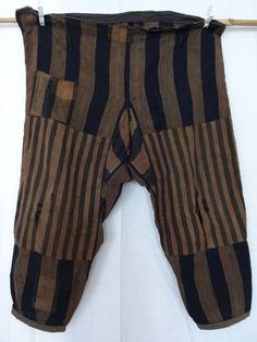Vintage Japanese Indigo Dyed Cotton Boro Noragi Pants Stripe Shima Patch