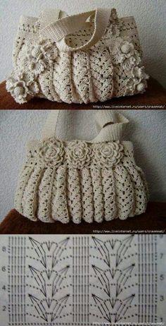 Marvelous Crochet A Shell Stitch Purse Bag Ideas. Wonderful Crochet A Shell Stitch Purse Bag Ideas. Crochet Tote, Crochet Handbags, Crochet Purses, Crochet Chart, Diy Crochet, Vintage Crochet, Crochet Stitches, Crochet Flower, Purse Patterns