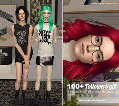 Hello everyone! Now I have more than 100 followers and I made new followers gift, which you can download here :) It includes 4 separated AF tops, 4 separated AF skirts and 2 eyeglasses. I hope you'll...