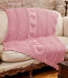 Hearts on Pink knitted blanket ♥