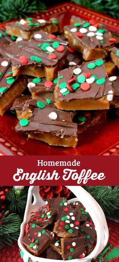 Homemade English Toffee is one of our favorite Christmas Desserts. It's so delicious and so easy to make. (You won't need a candy thermometer to make this great Christmas Treat!) It will become an instant family favorite and also makes a great DIY Christmas Gift.