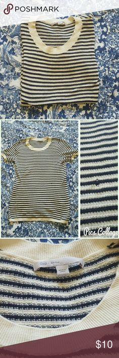 Short sleeved GAP shirt Black and off white stripes. Cotton/knitted material. Size small. GAP Tops Tees - Short Sleeve