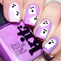 White & Purple Ghosts Nail Design for Halloween
