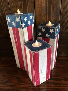 These beautiful Patriotic candlesticks are handcrafted. Candlesticks are made from Douglas fir 4 Patriotic Crafts, July Crafts, Summer Crafts, Holiday Crafts, Americana Crafts, Patriotic Party, Holiday Ideas, Fourth Of July Decor, 4th Of July Decorations