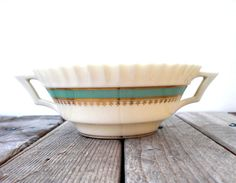Vintage Lenox bowl. Serving dish. Handpainted gold trim. Art Deco design.