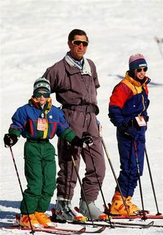 Prince Charles skis with his sons, Princes William and Harry in Klosters, Switzerland  .