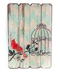 DesMa Cardinal & Cage Wood Wall Plaque | zulily