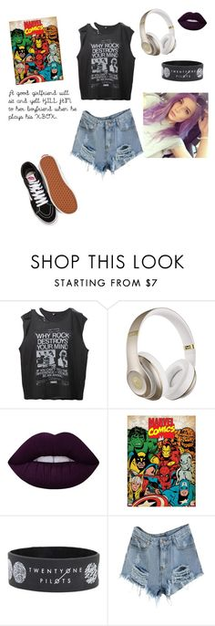 """""""Untitled #112"""" by hippogryffindor ❤ liked on Polyvore featuring R13, Beats by Dr. Dre, Lime Crime and Vans"""
