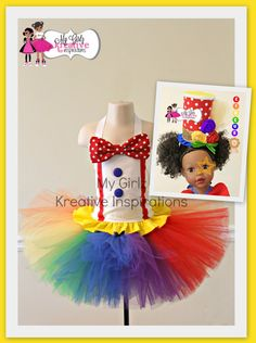 Polka Dot Circus Carnival Clown Rainbow BIrthday Party Tutu Outfit Pageant Costume Outfit Baby girl 6mos - 5T