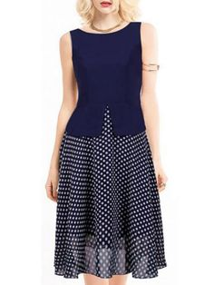 Vintage Polka Dot Chiffon Party Sleeveless Women Dress - Gchoic.com #Dresses #Women #Fashion #Latest