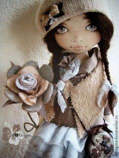 Evgesha&Kristian - голубой,коричневый,бежевый,авторская работа,текстильная кукла: