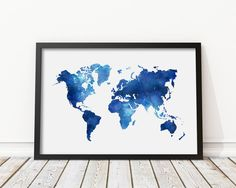 Grey printable world map distressed vintage texture map print navy blue watercolor world map print blue world map poster morden art nursery decor home wall art instant download digital print jpg gumiabroncs Image collections
