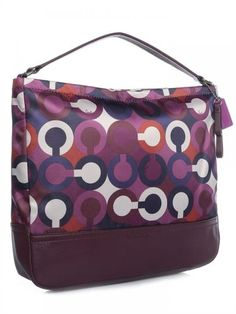 ★BNWT Coach Park Op Art Scarf Print Hobo Handbag★. Starting at $1 on Tophatter.com! Coach Purses, Coach Bags, Hobo Handbags, Op Art, Signature Style, Leather Handle, Timeless Design, Printing On Fabric, 3 D
