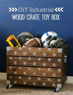 DIY Industrial Wood Crate Toy Box has an industrial look while holding all those toys. #diyhomedecor #diycraftideas #diyfurniture #diy