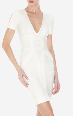 $189.00  Herve Leger V Neck Bandage Dress Short Sleeve White Sale  90% rayon/9% nylon/1% spandex V neckline Short sleeves with split shoulders Bandage construction Back zip   Hem hits mid-thigh. Dry clean
