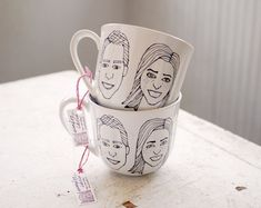 custom couple caricature mugs with initials - hand drawn portraits on tea cup pair - set of two via Etsy. Gifts For Boss, Gifts For Your Mom, Cute Gifts, Unique Gifts, Cheap Wedding Gifts, Christmas Couple, Tea Party Bridal Shower, Bridesmaid Flowers, Bridesmaids